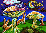 Blue Mushrooms Painting Posters - Rabbits At Night Poster by Genevieve Esson