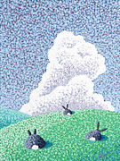 Cloudy Day Paintings - Rabbits At Rest by Wayne Hardee