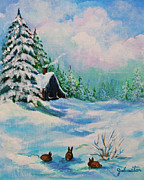 National Mixed Media Prints - Rabbits Waiting for Spring Print by Nadine and Bob Johnston