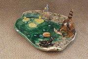 Fish Sculpture Ceramics - Raccoon blue bird turtle fish tray  by Debbie Limoli