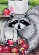 Miniature Drawings - Raccoon -- Caught in the Act by Sherry Goeben