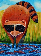 Raccoon Painting Posters - Raccoon Fishing Poster by Harriet Peck Taylor