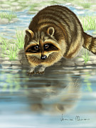 Stones Digital Art Prints - Raccoon Print by Veronica Minozzi
