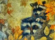 Autumn Landscape Drawings Framed Prints - Raccoons  Framed Print by Elizabeth Coats