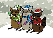 Scarves Posters - Raccoons Winter Poster by Christy Beckwith