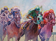 Race Horse Posters Paintings - Race 2 by Janina  Suuronen