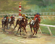 Kentucky Derby Painting Originals - Race Horses by Laurie Hein