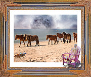 Racing Mustangs Prints - Race of a Lifetime Print by Betsy A Cutler East Coast Barrier Islands