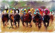 Kentucky Derby Prints - Race To The Finish Line Print by Ted Azriel