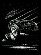Old Car Drawings Prints - Race To The Moon III Print by Bomonster