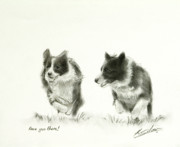 Cute Dog Pastels - Race you there by John Silver