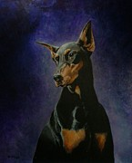 Doberman Pinscher Puppy Paintings - Rachel by Ace Robst Jr