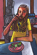 Dinner Painting Originals - Rachel Eating Salad by Toms Speakers by Douglas Simonson