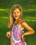 Portraits Paintings - Rachel with Cookie by Douglas Simonson