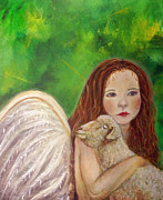 The Art With A Heart Prints - Rachelle Little Lamb The Return To Innocence Print by The Art With A Heart By Charlotte Phillips