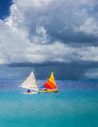 Sailboat Ocean Digital Art Prints - Racing a Caribbean Storm Print by Betty LaRue