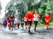 Marathons Prints - Racing in the Rain Print by Susan Savad