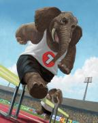 Kids Sports Art Posters - Racing Running Elephants In Athletic Stadium Poster by Martin Davey