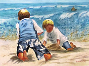 Sand Castles Prints - Racing The Tide Print by Barbara Jung