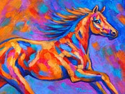 Colorful Horse Paintings - Racing the Wind by Theresa Paden