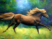 Ponies Paintings - Racing  the Wind by Vivien Rhyan