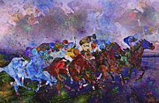 Jockey Silks Framed Prints - Racing with Ghosts Framed Print by East Coast Barrier Islands Betsy A Cutler