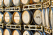 Winemaking Metal Prints - Rack of Old Oak Wine Barrels Metal Print by Susan  Schmitz