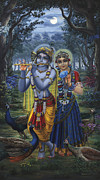 Spiritual Art Posters - Radha and Krishna on full moon Poster by Vrindavan Das
