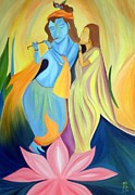 Indian Artist Prints - Radha-Krishna -A Divine Love Print by Dipali Deshpande