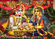Flower Design Framed Prints - Radha Krishna Bhojan Lila on Yamuna Framed Print by Vrindavan Das