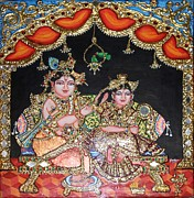 Original Art Reliefs Prints - Radha Krishna Print by Jayashree
