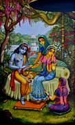 Krishna Framed Prints - Radha Krishna man lila on Radha kunda Framed Print by Vrindavan Das