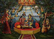Vrindavan Das Prints - Radha Krishna taking meal   Print by Vrindavan Das