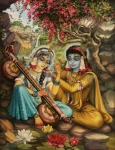 Parrot Art Paintings - Radha playing vina by Vrindavan Das