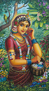 Parrot Art Paintings - Radharani in garden by Vrindavan Das