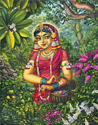 Vrindavan Das Prints - Radharani picking flowers Print by Vrindavan Das