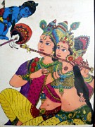 God Drawings Originals - Radhe Krishna  by Mukul Dhankhar
