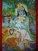 Devotional Paintings - Radhe Radhe by Saudamini Burdhan