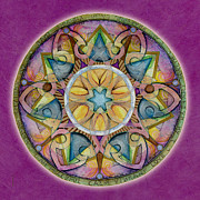 Affirmation Painting Prints - Radiant Health Mandala Print by Jo Thomas Blaine