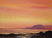 San Juan Painting Metal Prints - Radiant Island Sunset Metal Print by James Williamson
