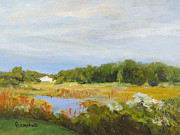 South Carolina Low Country Marsh Paintings - Radiant Skies by Cecelia Campbell