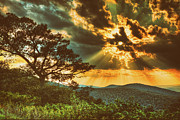 Fine Art Photographer Mixed Media - Radical Blue Ridge Sunset  II by Dan Carmichael