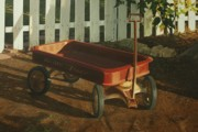 Picket Fence Posters - Radio Flyer Afternoon Poster by Nancy Teague