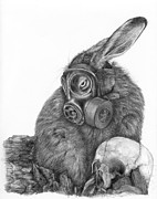 Rabbit Prints - Radioactive Black And White Print by Penny Collins