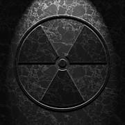Radioactive Symbol Black Marble Texture Print by Brian Carson