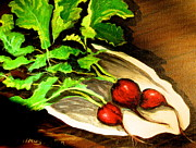 Impressionistic Market Painting Framed Prints - Radishes 2 Framed Print by Gretchen Allen