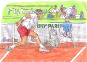 French Open Paintings - Rafa vs. Novak by Steven White