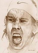 Tennis Player Drawings Prints - Rafael Nadal Print by Nan Wright
