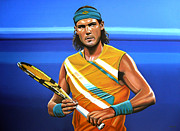 Us Open Painting Framed Prints - Rafael Nadal Framed Print by Paul  Meijering