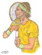 Wimbledon Drawings Metal Prints - Rafael Nadal Metal Print by Steven White